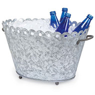 Galvanized Tin Fleur De Lis Chill Beverage Tub