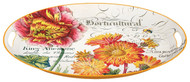 Michel Design Works Decorative Oval Metal Platter, 20.5 x 15.25-Inch, Blooms and Bees