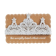 Girls Silver Lace Crocheted Crown Headband