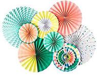 Neon Paper Rosettes Party Fans