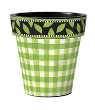 "Green Gingham 12"" Art Pot Planter"