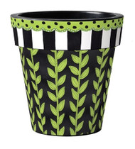 "Leaf Vine Stripe 15"" Art Planter"