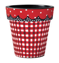 "Red Gingham 15"" Art Planter"