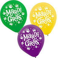 "12"" Mardi Gras Latex Balloons - Pkg of 6"