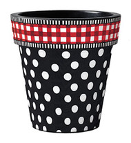 "Black with White Dots 18"" Art Pot Planter"