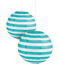 "Turquoise Striped Paper Lantern - 12"" - Set of 2"