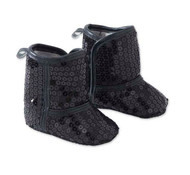 Baby Girls Black Sequin Shoe Boot, 3-6 Months