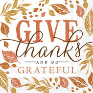 Give Thanks & Be Thankful Paper Cocktail Napkin