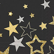 Black Sparkling Stars Cocktail Paper Napkins