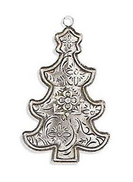 5 Inch Antique Silver Metal Embossed Tree Ornament