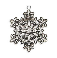 5 Inch Antique Silver Metal Embossed Snowflake Ornament