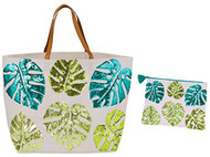 Palm Leaf Beach Tote with Matching Zipper Bag