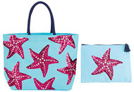 Starfish Beach Tote with Matching Zipper Bag