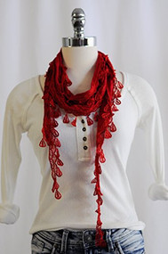 Red Lace Scarf with Fringe