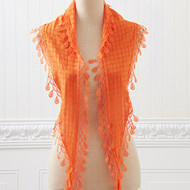 Orange Lace Scarf with Fringe