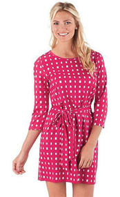 Mud Pie Courtney Pink Ditzy Squares Dress (Large)