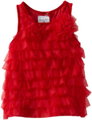Mud Pie Baby Girls' Red Chifffon Tiered Party Dress