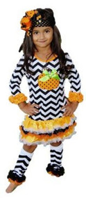 Girls Appliqued Chevron Halloween Dress (Medium)