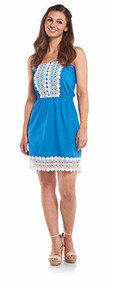 Mud Pie Blue Bliss Strapless Dress - Small
