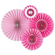 Bubble Gum Pink Paper Rosettes Party Fans