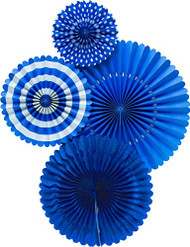 Basic Cobalt Blue Paper Rosettes Party Fans