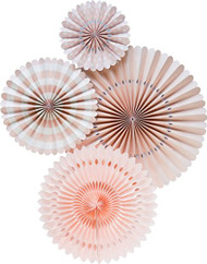 Blush Paper Rosettes Party Fans