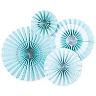 Baby Blue Paper Rosettes Party Fans