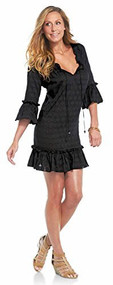 Mud Pie Chloe Black Ruffle Cover Up, Small
