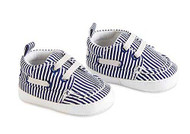 Baby Boys Blue & White Stripe Shoes 6-12 months