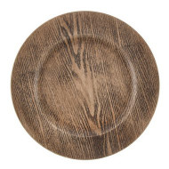 Woodgrain Pattern Palstic Plate Chargers - Set of 4