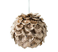 "B B 4.5"" Round Gold Pinecone Ornament"