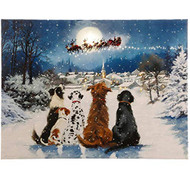 R Z Dogs Watching Santa Lighted Print