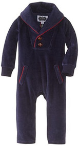 Mud Pie Baby-Boys Newborn One Piece Velour, Blue, 9-12 Months