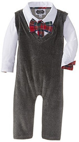 Mud Pie Baby-Boys Newborn Vest One Piece, Gray, 6-9 Months
