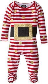 Mud Pie Baby Girl or Boy, Glitter Santa Footed One Piece, Red/White, 9-12 Months
