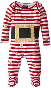 Mud Pie Baby-Girls Newborn Glitter Santa Footed One Piece, Red/White, 0-3mo