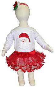 K K Baby Girls Christmas Santa's Little Helper Onesie, Tutu and Headband Outfit, 6-12 Months