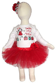K K Baby Girls Christmas Santa's Little Helper Onesie, Flower Tutu and Headband Outfit, 6-12 Months