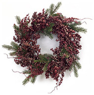 "Metallic Berry & Pine Wreath 24"" diameter"