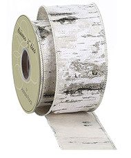 "Faux Birch Wired Ribbon 2.5"" wide"