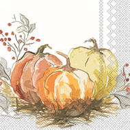 Painted Pumpkin Paper Cocktail Napkin