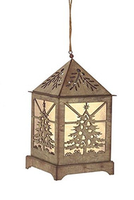 "Tree Lantern Ornament w/ 6 hr Timer - 6.5"" high"