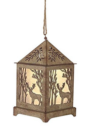 "Deer Lantern Ornament w/ 6 hr Timer - 6.5"" high"