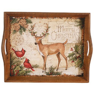 Deer & Cardinal Wooden Tray