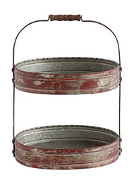 Metal 2-Tier Tray w/ Wood Handle, Distressed Red