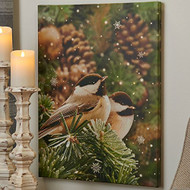 "24"" Chickadee Glittered Lighted Print"