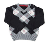 Baby Boys Black/Gray Argyle Sweater