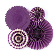 Purple Paper Rosettes Party Fans