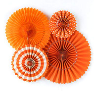 High Quality Orange Paper Rosettes Party Fans