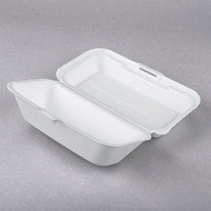 White Foam Hoagie Take Out Container with Perforated Hinged Lid - Pkg of 20